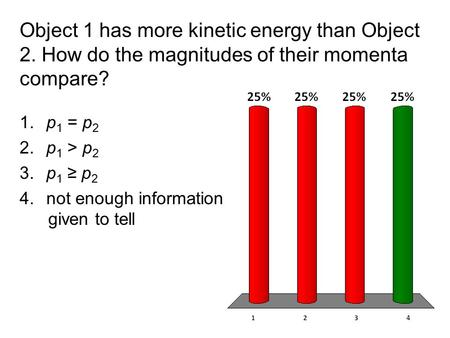 Object 1 has more kinetic energy than Object 2. How do the magnitudes of their momenta compare? 1. p 1 = p 2 2. p 1 > p 2 3. p 1 ≥ p 2 4. not enough information.
