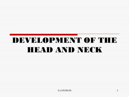 1 DEVELOPMENT OF THE HEAD AND NECK G.LUFUKUJA. Head and neck  The mesenchyme for formation of the head region is derived from paraxial and lateral plate.