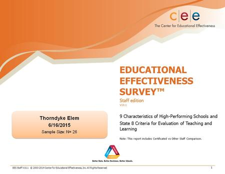 EES Staff V10.1 © 2003-2014 Center for Educational Effectiveness, Inc. All Rights Reserved. 1 EDUCATIONAL EFFECTIVENESS SURVEY™ Staff edition V10.1 9 Characteristics.