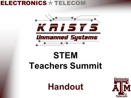 ELECTRONICS TELECOM STEM Teachers Summit Handout.