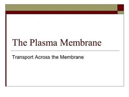 The Plasma Membrane Transport Across the Membrane.