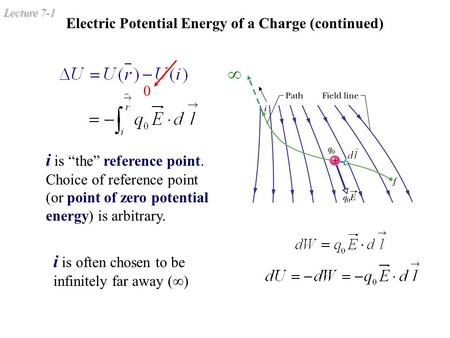 "Lecture 7-1 Electric Potential Energy of a Charge (continued) i is ""the"" reference point. Choice of reference point (or point of zero potential energy)"