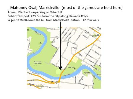 Mahoney Oval, Marrickville (most of the games are held here) Access: Plenty of carparking on Wharf St Public transport: 423 Bus from the city along Illawarra.