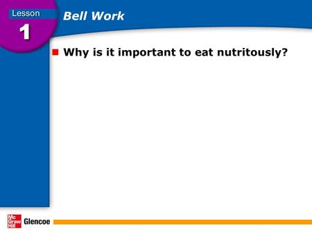 Bell Work Why is it important to eat nutritously?.