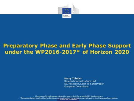 Research & Innovation Preparatory Phase and Early Phase Support under the WP2016-2017* of Horizon 2020 Harry Tuinder Research Infrastructure Unit DG Research,