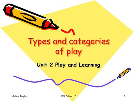 Helen TaylorCPLD Unit 21 Types and categories of play Unit 2 Play and Learning.