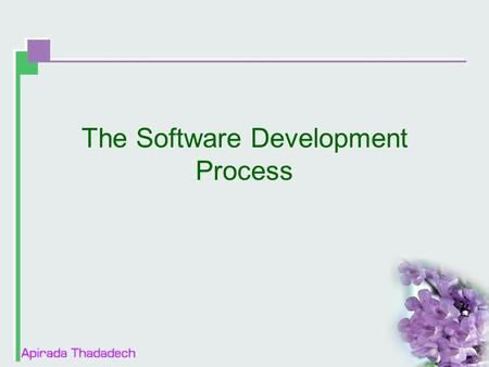 The Software Development Process. Contents  Product Components  Software project staff  Software development lifecycle models.
