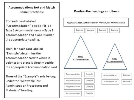 "Accommodations Sort and Match Game Directions: For each card labeled ""Accommodation"", decide if it is a Type 1 Accommodation or a Type 2 Accommodation."