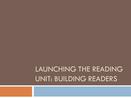 LAUNCHING THE READING UNIT: BUILDING READERS. Learning Progression/Unit Consistency  Reading Identity  Interacting with Text and Self-Monitoring  Genre.