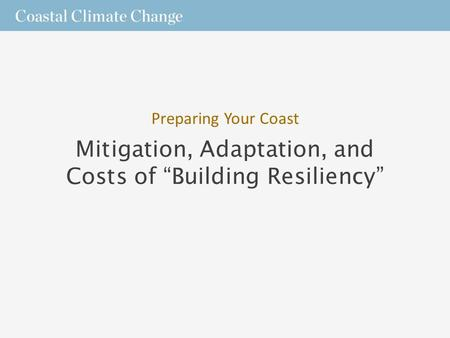 "Mitigation, Adaptation, and Costs of ""Building Resiliency"" Preparing Your Coast."