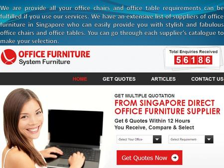 Welcome to our office furnishings Singapore online directory. Office Furniture Singapore is a great online directory listing the most reliable and professional.