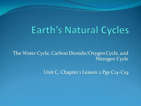 The Water Cycle, Carbon Dioxide/Oxygen Cycle, and Nitrogen Cycle Unit C, Chapter 1 Lesson 2 Pgs C14-C19.
