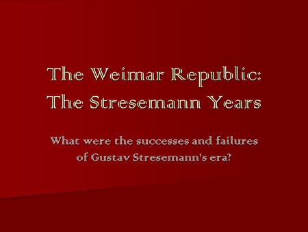 failures of weimar republic