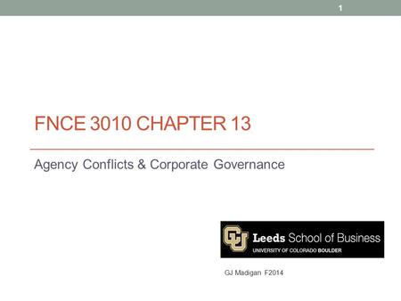 FNCE 3010 CHAPTER 13 Agency Conflicts & Corporate Governance 1 GJ Madigan F2014.