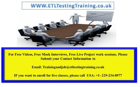 For Free Videos, Free Mock Interviews, Free Live Project work sessions, Please Submit your Contact Information to