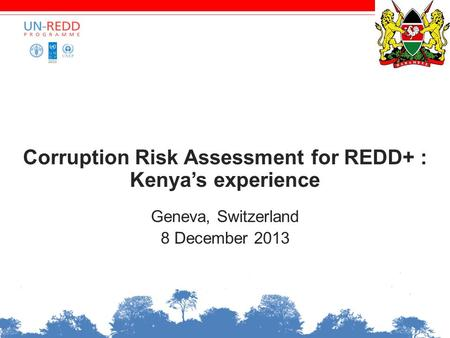 Corruption Risk Assessment for REDD+ : Kenya's experience Geneva, Switzerland 8 December 2013.