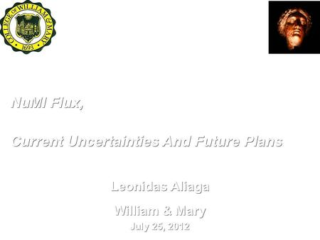 NuMI Flux, Leonidas Aliaga William & Mary July 25, 2012 Current Uncertainties And Future Plans International Workshop on Neutrino Factories, Super Beams.