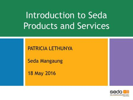 Introduction to Seda Products and Services PATRICIA LETHUNYA Seda Mangaung 18 May 2016.