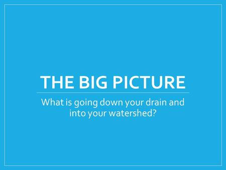THE BIG PICTURE What is going down your drain and into your watershed?