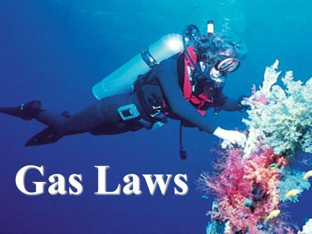 Gas Laws. GAS LAWS They'll save your life! Boyle's Law Charles's Law Lussac's Law Avogadro's Law –Molar Volume Combined Gas Law Ideal Gas Law.