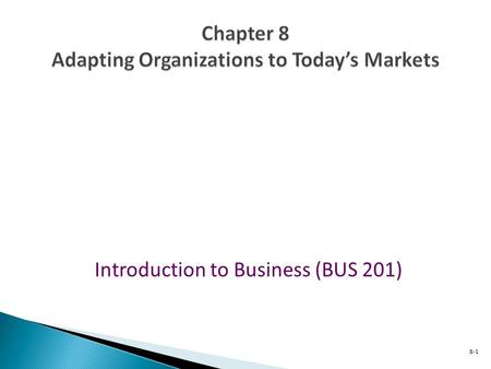 Introduction to Business (BUS 201) 8-1 1-1 8 CHAPTER.