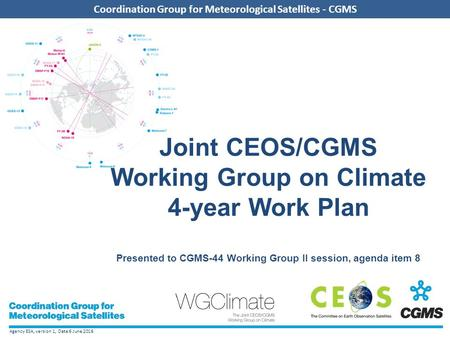Agency ESA, version 1, Date 6 June 2016 Coordination Group for Meteorological Satellites - CGMS Joint CEOS/CGMS Working Group on Climate 4-year Work Plan.