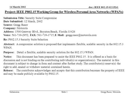 14 March 2002 doc.: IEEE 802.15-02/152r1 Gregg Rasor, MotorolaSlide 1Submission Project: IEEE P802.15 Working Group for Wireless Personal Area Networks.