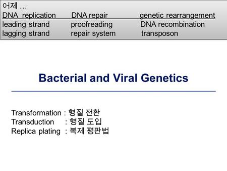 Bacterial and Viral Genetics 어제 … DNA replication DNA repair genetic rearrangement leading strand proofreading DNA recombination lagging strand repair.