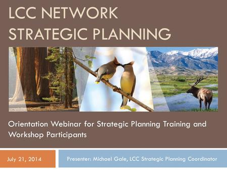 LCC NETWORK STRATEGIC PLANNING Orientation Webinar for Strategic Planning Training and Workshop Participants July 21, 2014 Presenter: Michael Gale, LCC.