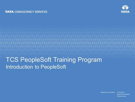 TCS PeopleSoft Training Program Introduction to PeopleSoft.
