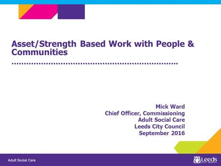 Asset/Strength Based Work with People & Communities