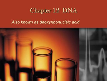 Chapter 12 DNA Also known as deoxyribonucleic acid.