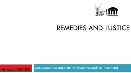 REMEDIES AND JUSTICE Safeguards: Social, Cultural, Economic and Environmental HUMAN RIGHTS.