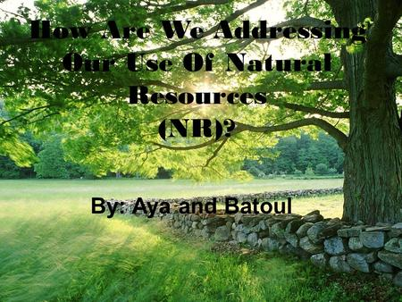 How Are We Addressing Our Use Of Natural Resources (NR)? By: Aya and Batoul.