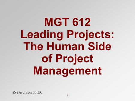 1 MGT 612 Leading Projects: The Human Side of Project Management Zvi Aronson, Ph.D.
