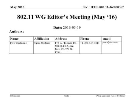 Submission doc.: IEEE 802.11-16/0603r2 Slide 1 802.11 WG Editor's Meeting (May '16) Date: 2016-05-19 Authors: Peter Ecclesine (Cisco Systems) May 2016.