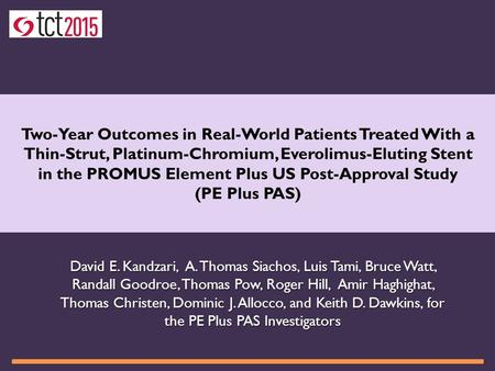 Two-Year Outcomes in Real-World Patients Treated With a Thin-Strut, Platinum-Chromium, Everolimus-Eluting Stent in the PROMUS Element Plus US Post-Approval.
