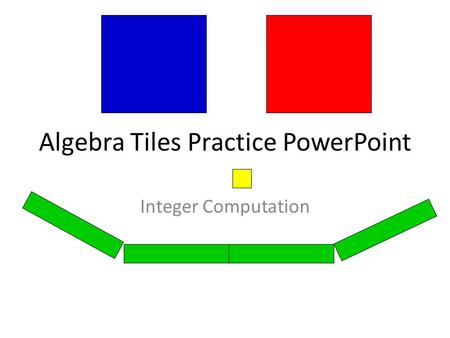 Algebra Tiles Practice PowerPoint Integer Computation.