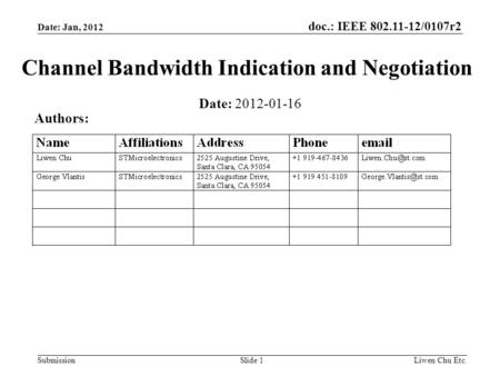 Doc.: IEEE 802.11-12/0107r2 SubmissionLiwen Chu Etc.Slide 1 Channel Bandwidth Indication and Negotiation Date: 2012-01-16 Authors: Date: Jan, 2012.