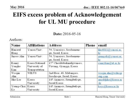 Submission doc.: IEEE 802.11-16/0674r0 May 2016 Hanseul Hong, Yonsei UniversitySlide 1 EIFS excess problem of Acknowledgement for UL MU procedure Date: