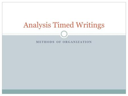 METHODS OF ORGANIZATION Analysis Timed Writings. What it will look like You will create an outline for an entire essay, planning out a total of 6 DECs.