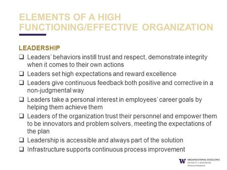 ELEMENTS OF A HIGH FUNCTIONING/EFFECTIVE ORGANIZATION LEADERSHIP  Leaders' behaviors instill trust and respect, demonstrate integrity when it comes to.