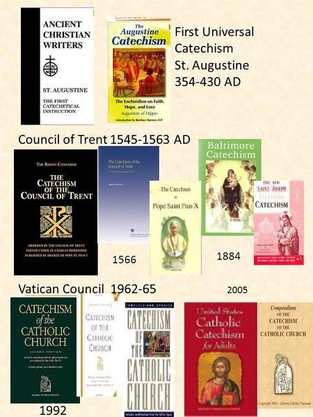 First Universal Catechism St. Augustine 354-430 AD Council of Trent 1545-1563 AD Vatican Council 1962-65 2005 1992 1566 1884.