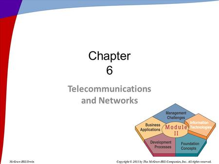 Telecommunications and Networks Chapter 6 McGraw-Hill/IrwinCopyright © 2011 by The McGraw-Hill Companies, Inc. All rights reserved.