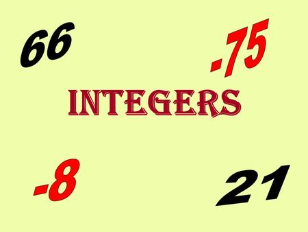 INTEGERS Absolute Value Numbers and the Number Line Addition Subtraction Multiplication and Division Add/Subtract Matrices.