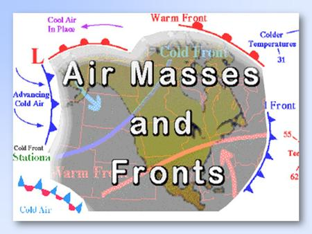 The Air Masses cP( continental polar) : cold, dry stable cT( continental tropical) : hot, dry, stable air aloft, unstable at the surface mP( maritime.