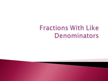 Like decimals, fractions represent parts of numbers. A fraction is usually a number that is between 0 and 1. Numerator - number on top Denominator - number.