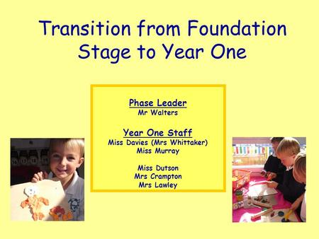 Transition from Foundation Stage to Year One Phase Leader Mr Walters Year One Staff Miss Davies (Mrs Whittaker) Miss Murray Miss Dutson Mrs Crampton Mrs.
