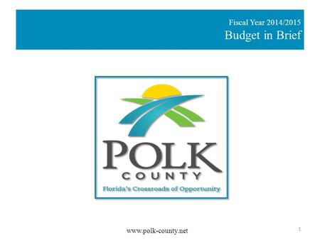 Fiscal Year 2014/2015 Budget in Brief  1.