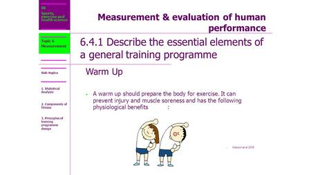 IB Sports, exercise and health science Sub-topics Measurement & evaluation of human performance 6.4.1 Describe the essential elements of a general training.